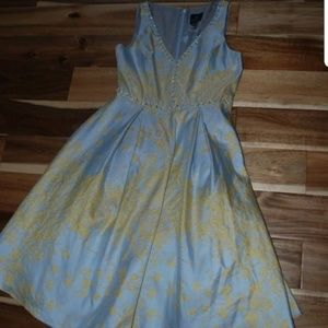 New ADRIANNA PAPELL LIGHT BLUE BEADED DRESS  6